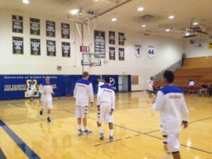 Alaska Nanooks men's basketball warms up prioir to a GNAC contest.  -Photo by Micheal Ives, Extreme Alaska