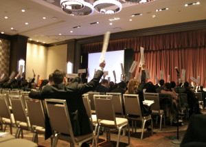 Delegates in General Assembly 1 voting on a motion