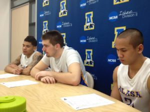 Nanooks basketball players at press conference following win over Simon Frasor (left to right:  Dominique Brinson, Sergej Pucar, Pat Voeut)  Photo by Micheal Ives, Extreme Alaska