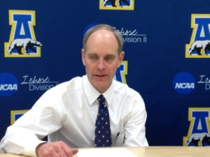 Men's basketball head coach Mick Durham answers questions post-game.  Photo by Micheal Ives, Extreme Alaska