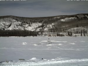 Live shot from the ice webcam. Photo credit to Nenana Ice Classic website.