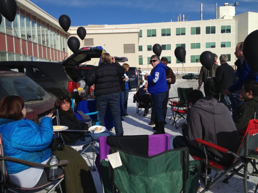 Bunnell Building staff mark the last day of the East Bunnell parking lot with a party. Jon Bracone photo.