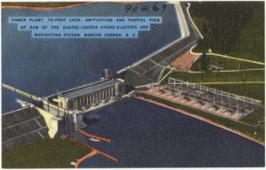 Drawing of a hydro-electric power producing dam from Moncks Corner, South Carolina.  Proposed Alaskan dam would be one of the largest in the United States.