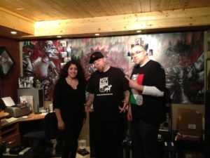 Sophia Holton, Alaska Redd, and Jon Bracone after the interview this past weekend in Redd's studio.
