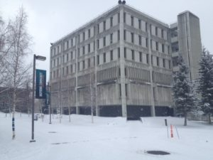 The Gruening Building on this snowy day in Alaska.