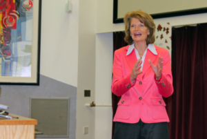 Senior Senator Lisa Murkowski speaks to students at UAF about economics and the country's budget. Photo by Jake Hovenden, an undergraduate business student