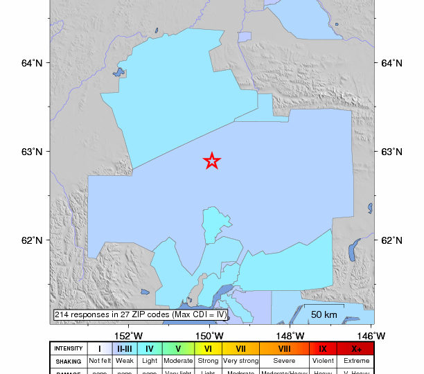 Preliminary 5.1 Magnitude Earthquake Strikes Alaska Range
