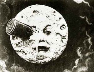 Image of capsule stuck in moon from Georges Melies sci-fi classic.