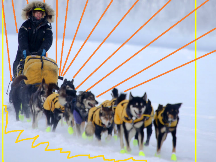 A head lamp cuts through darkness, followed by church bells, and who's about to win the 1,000-mile Yukon Quest?