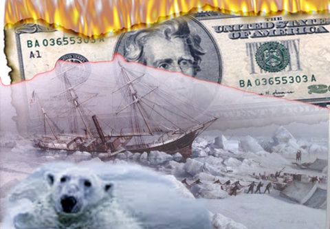 Composite image of burning Jackson $20-sad polarbear- budget illustration.